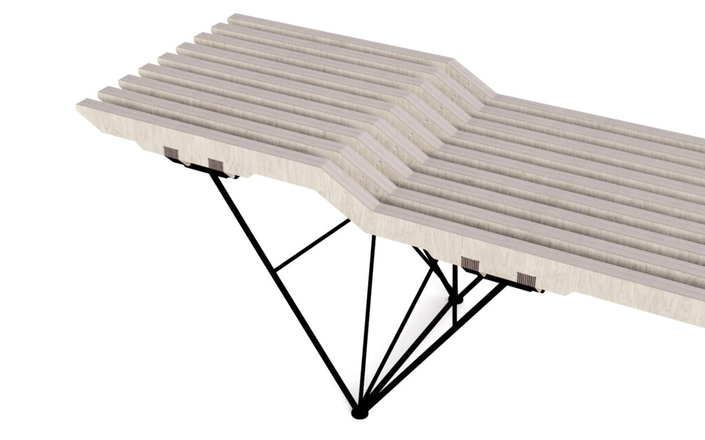 Birch Plywood bench with different levels