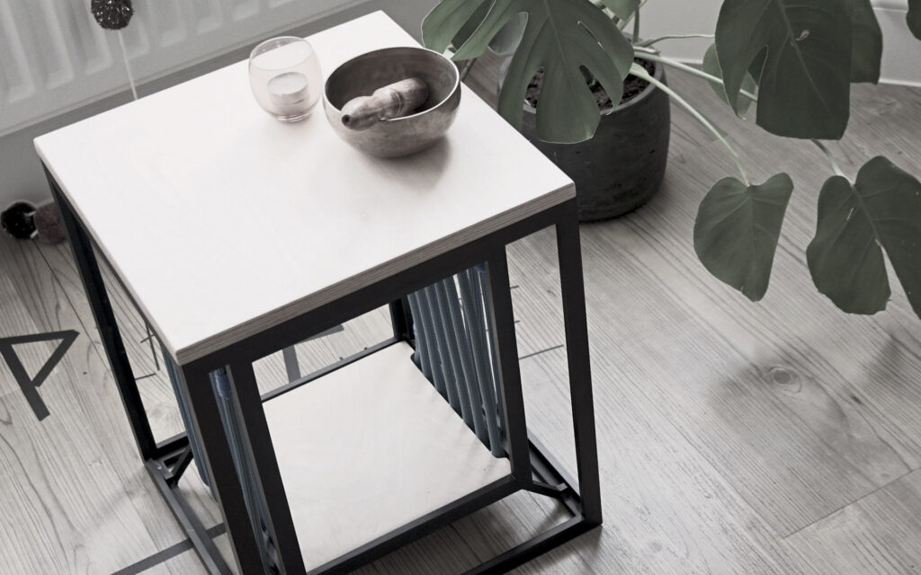 Anodised aluminium frame with rope side table and stool