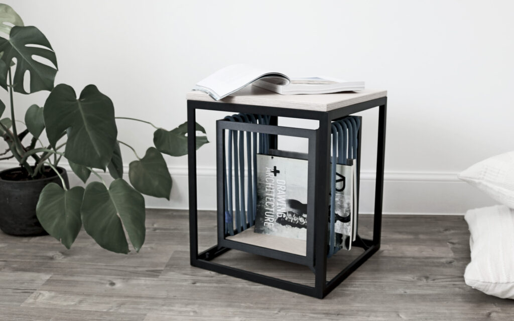 Aluminium side table and stool with storage