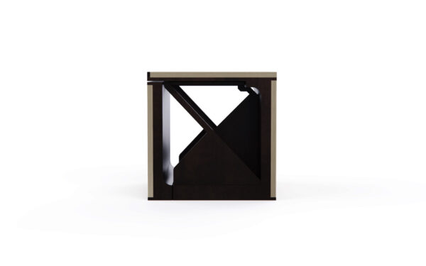 Plywood and Corten Steel cube