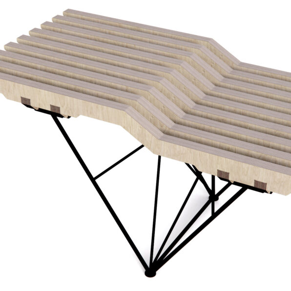 Birch Plywood bench with Steel leg frame