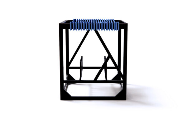 Contemporary design stool in Anodise Aluminium and Rope