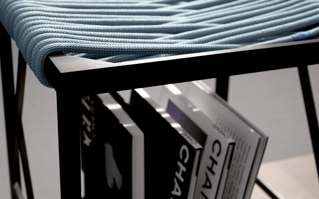 Shelving inside this rope and anodised Aluminium Stoo