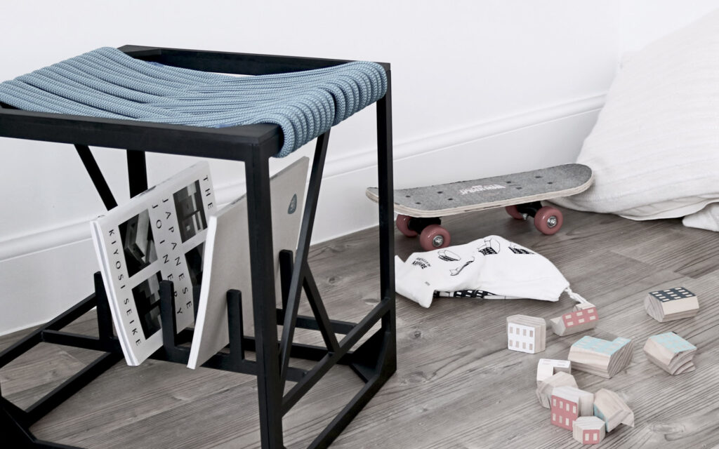Customisable rope with anodised aluminium frame contemporary stool