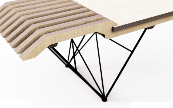 Plywood treated in two different ways in this contemporary bench