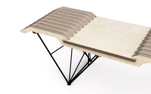 Modern plywood bench with powder coated steel leg frame