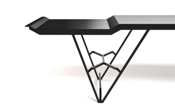 Side and details of modern steel bench