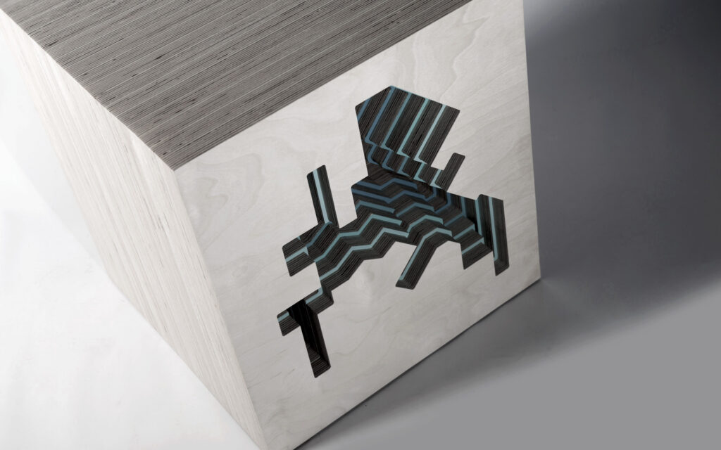 Contemporary Birch Plywood Stool