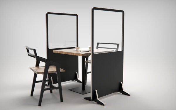 Covid protective screens with table in between